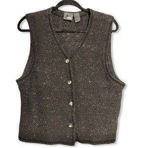 Liz Wear Sweater Vest Women's Large Black Marbled